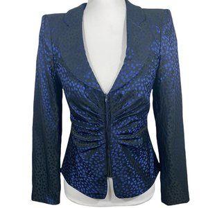 Armani Collezioni Blazer/Jacket in Cobalt Blue & Black - Size 4 - VGC